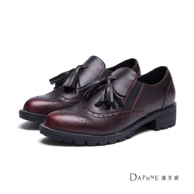 達芙妮DAPHNE-牛津鞋-流蘇復古雕花休閒鞋-紅