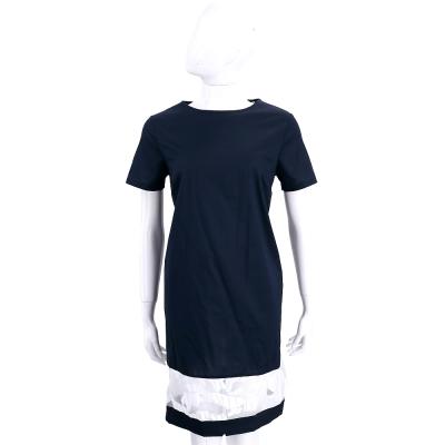 ROCCO RAGNI 深藍色拼接透膚印花短袖洋裝