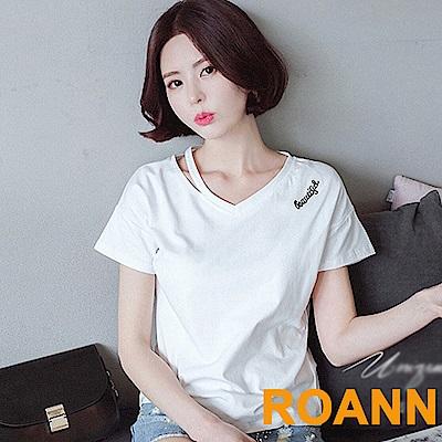 側挖空V領刺繡短袖T恤(白色)-ROANN