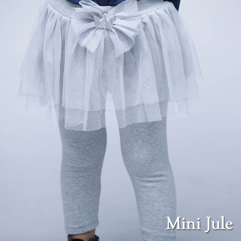 Mini Jule童裝-內搭褲裙亮粉皇冠網紗棉質內搭褲裙灰