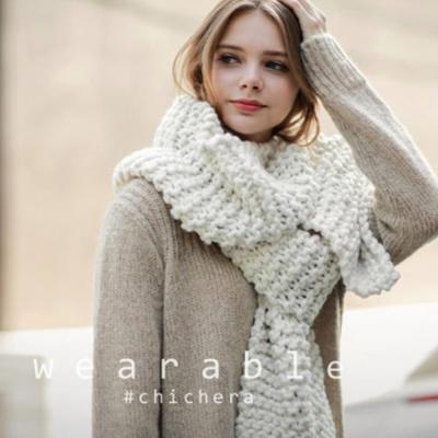 梨花HaNA-歐美純色感受粗織超長圍巾米白