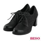 BESO復古摩登 綁帶擦色全真皮粗跟牛津鞋~黑
