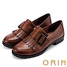 ORIN 英倫復古風 俏皮流蘇真皮樂福鞋-棕色