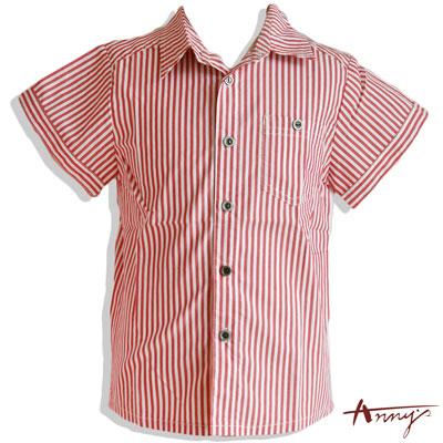 復古條紋造型鈕扣短袖襯衫*2386紅