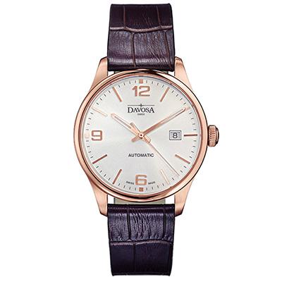 DAVOSA Gentlemen 現代經典紳士系列18K金色腕錶-白面/酒紅皮帶/40mm