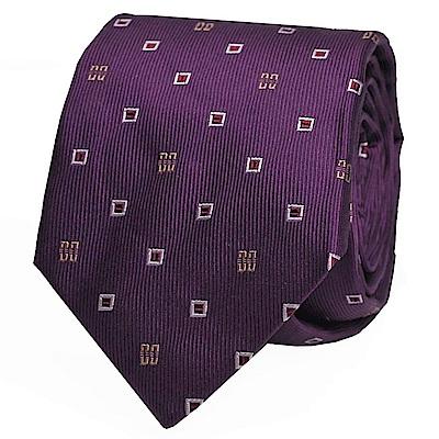 DAKS 義大利製經典品牌LOGO圖騰時尚領帶(紫色系)