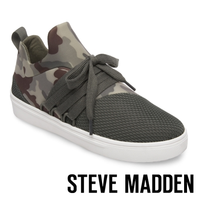 STEVE MADDEN-LANCER-CAMO 網布拼接綁帶休閒鞋-迷彩綠