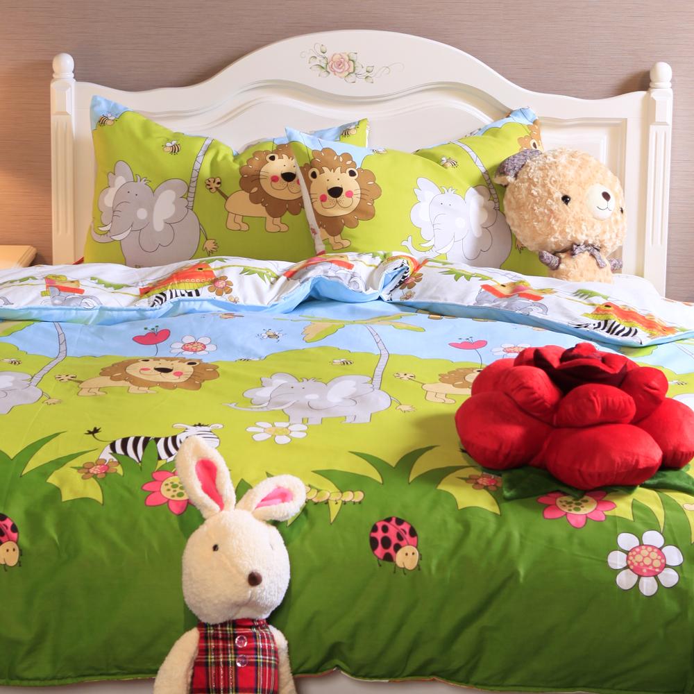 義大利Fancy Belle 歡樂大草原 加大純棉床包枕套組