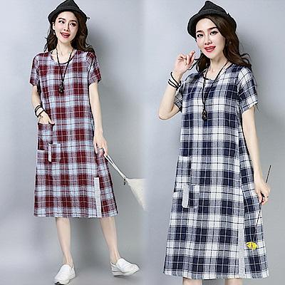 圓領短袖格紋連衣裙-共2色(M-2XL可選)     NUMI   森