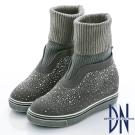DN 個性潮流 金蔥羅紋拼接水鑽中筒靴-灰