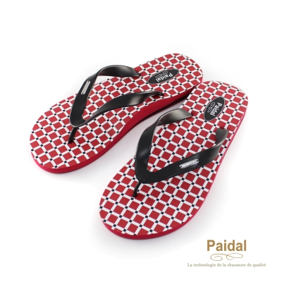 Paidal 男款簡單生活方格夾腳拖海灘拖人字拖鞋-紅