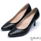 DIANA漫步雲端焦糖美人款--尖頭洞洞舒適透氣真皮跟鞋-黑