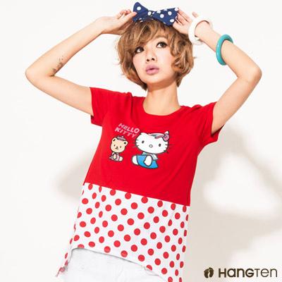 Hang Ten - 女裝 - 三麗鷗 - 水玉點點KITTY純棉T(紅)