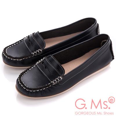 G.Ms. MIT系列-專利水洗皮革手工全真皮樂福鞋-學院黑