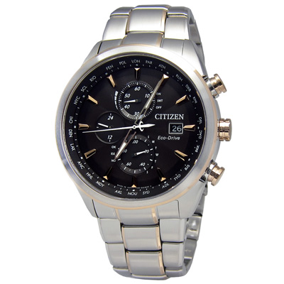 CITIZEN 紳士世界時間電波光動能手錶(AT8016-51E)-黑色/43mm
