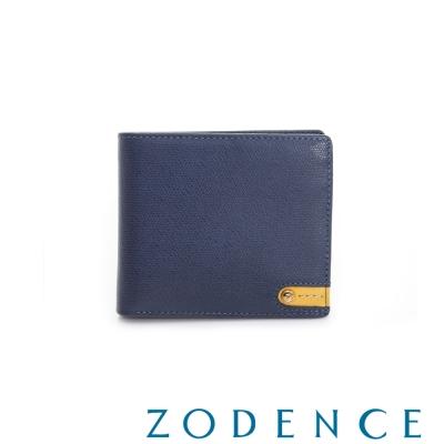 ZODENCE MAN 義大利牛皮系列低調配色LOGO三折短夾 藍
