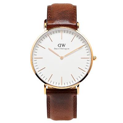 DW Daniel Wellington 經典聖安德魯手錶-白面X咖啡色/40mm