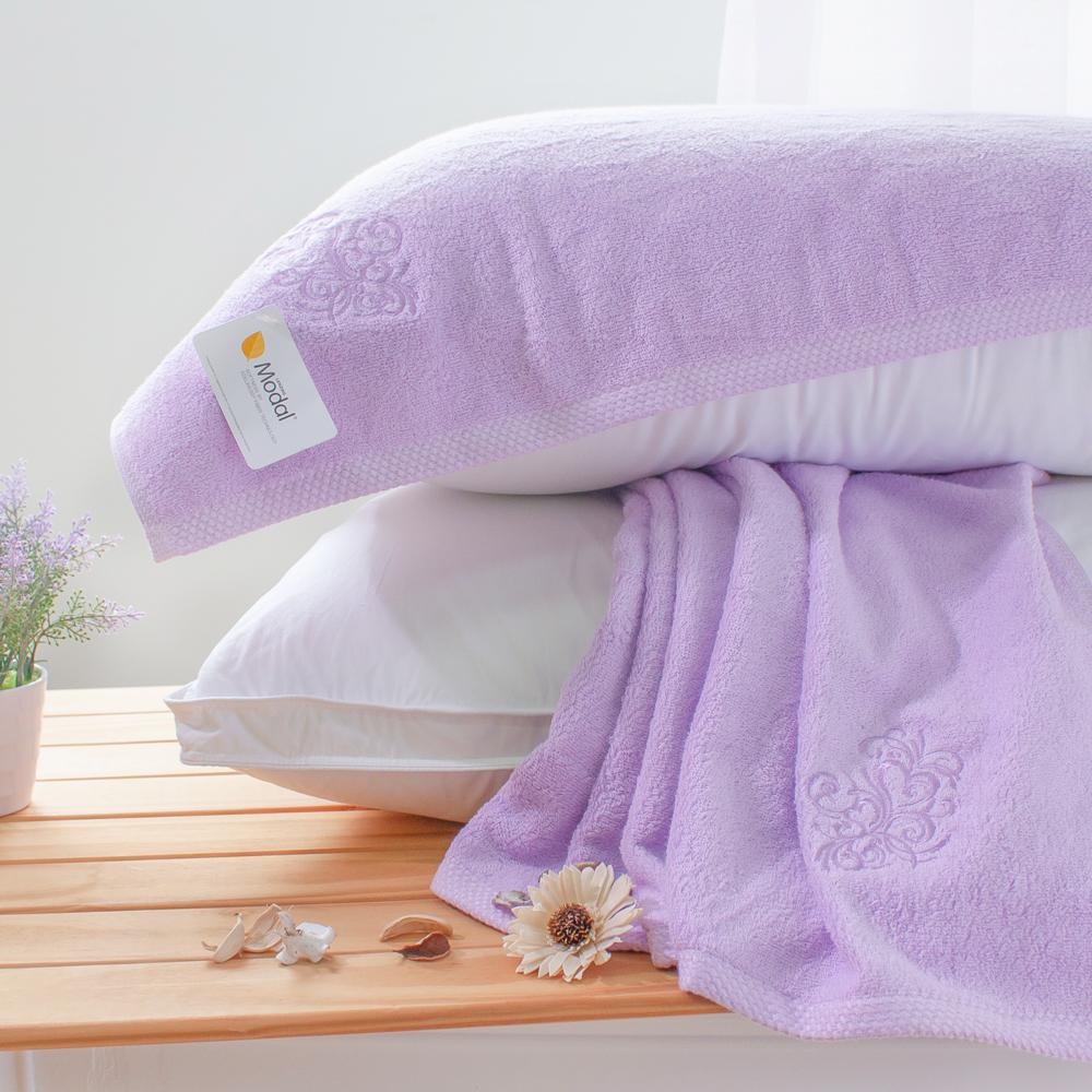 鴻宇HongYew 純色Modal莫代爾枕巾 紫 2入