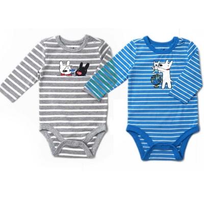 GL法國 優質萌系童趣條紋長袖包屁衣連身衣
