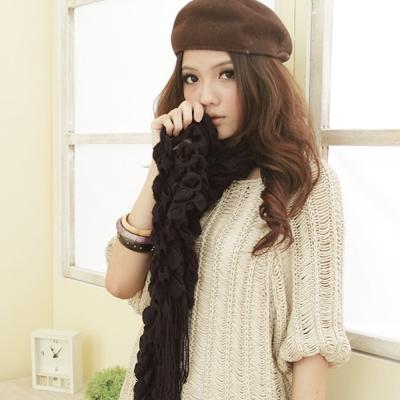 I-shi  暖呼呼~毛線泡泡-厚款圍巾(黑色)