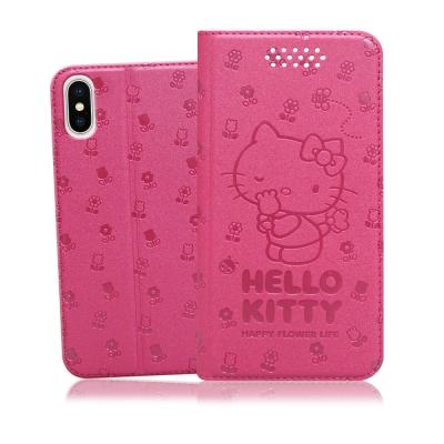 三麗鷗授權My Melody iPhone X 金莎碎花壓印皮套(美樂蒂草莓)