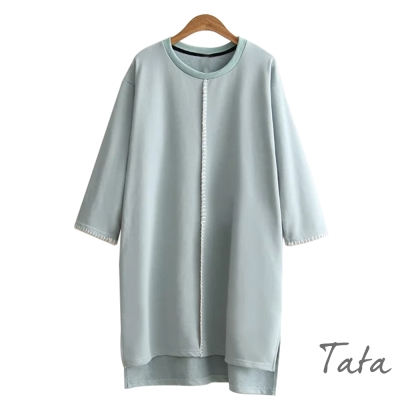 前短後長七分袖開叉洋裝-共二色-TATA