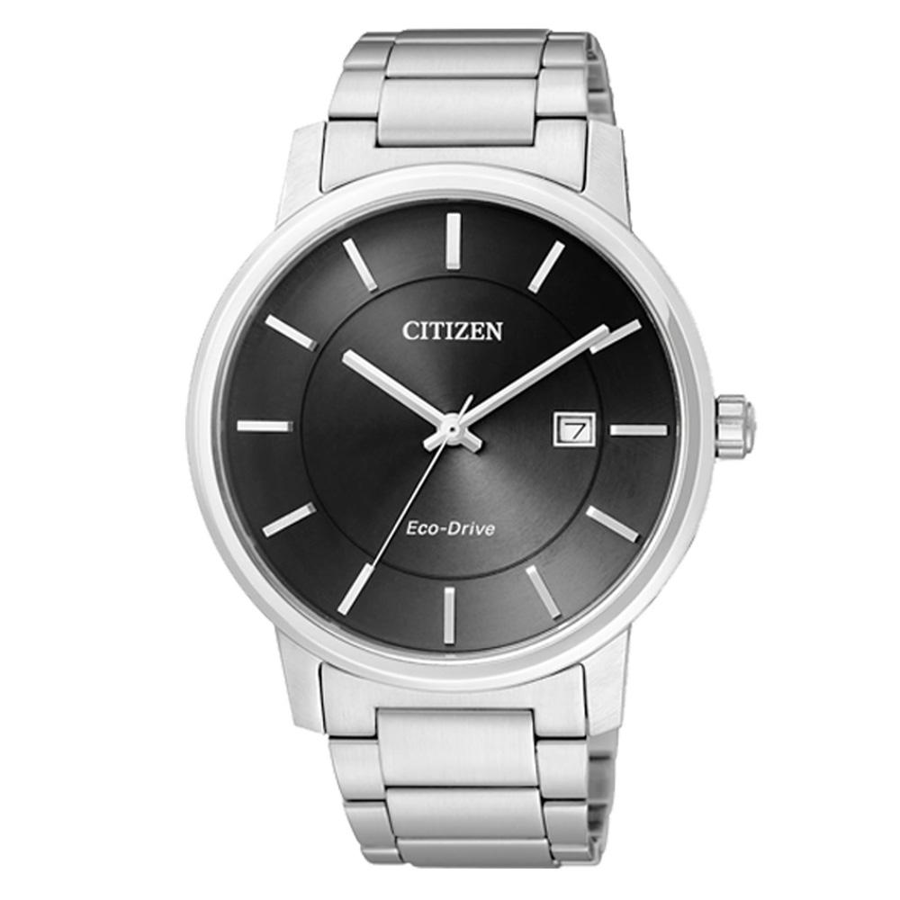 CITIZEN 儉樸風格光動能環保腕錶-黑/40mm