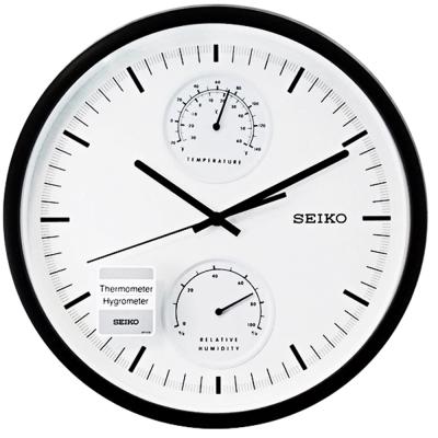 SEIKO 溫度濕度雙顯示 滑動式秒針 時鐘 掛鐘-30.5cm