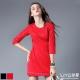 LIYO理優洋裝縷空7分袖洋裝(黑,紅)