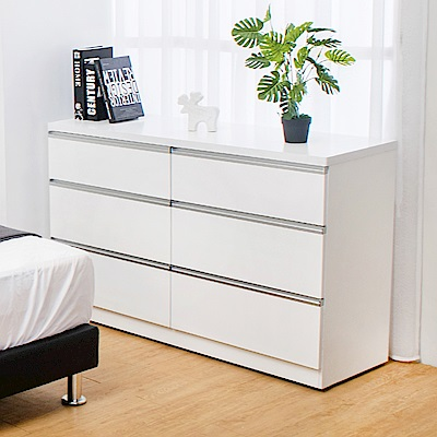 Bernice-貝塔絲4尺白色六斗櫃-120x41x76cm