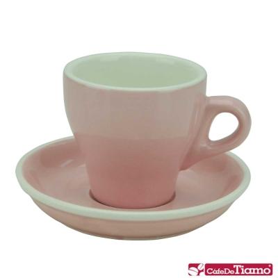 Tiamo 14號鬱金香卡布杯盤組5客180CC-粉紅色(HG0851PK)