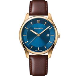 瑞士WENGER City 城市經典簡約紳士錶(01.1441.119)藍/43mm