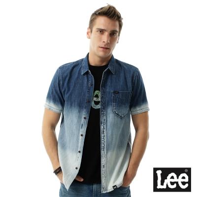 Lee 牛仔短袖漸層色襯袖/RG-男款-藍色
