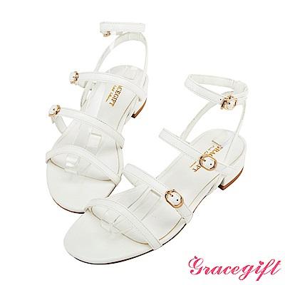 Grace gift-率性多條細帶釦低跟涼鞋 白