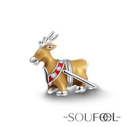 SOUFEEL索菲爾 925純銀珠飾 聖誕麋鹿 串珠