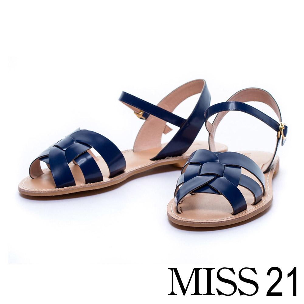 MISS 21 平底涼鞋全真皮層疊皮帶羅馬造型-藍