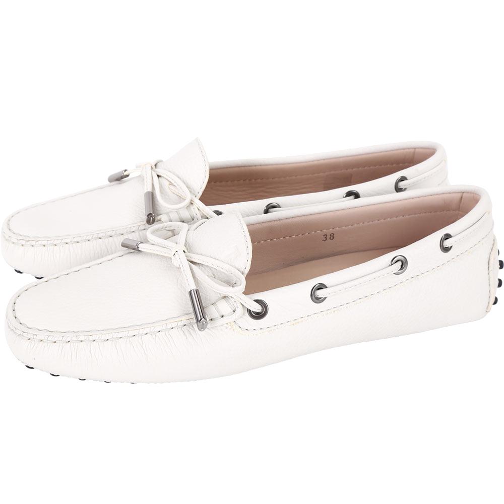 TOD'S Gommino 經典綁帶休閒豆豆鞋(女鞋/米白色)