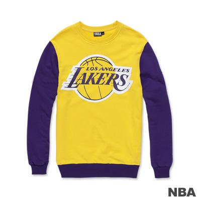 NBA-洛杉磯湖人隊印花圓領縮口撞色T恤-黃色(男)