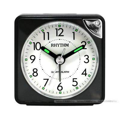 RHYTHM日本麗聲 輕巧時尚LED夜光小鬧鐘(經典黑)/6cm