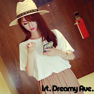 素色棉質短袖圓領上衣 (共二色)-1st. Dreamy Ave.