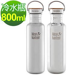 美國Klean Kanteen 竹片蓋不鏽鋼冷水瓶800ml