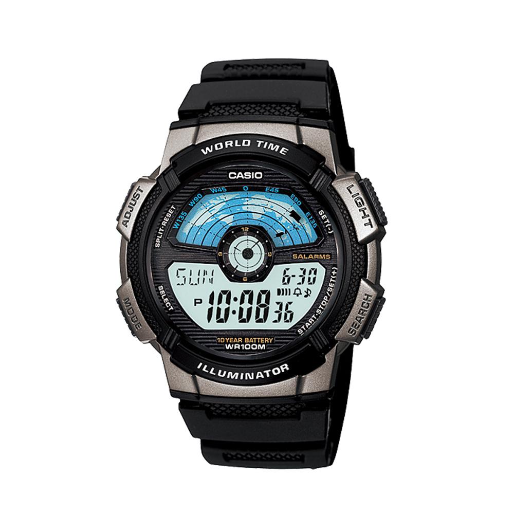 CASIO 航空儀表版造型戶外雙顯錶(AE-1100W-1A)-銀灰框/43.7mm