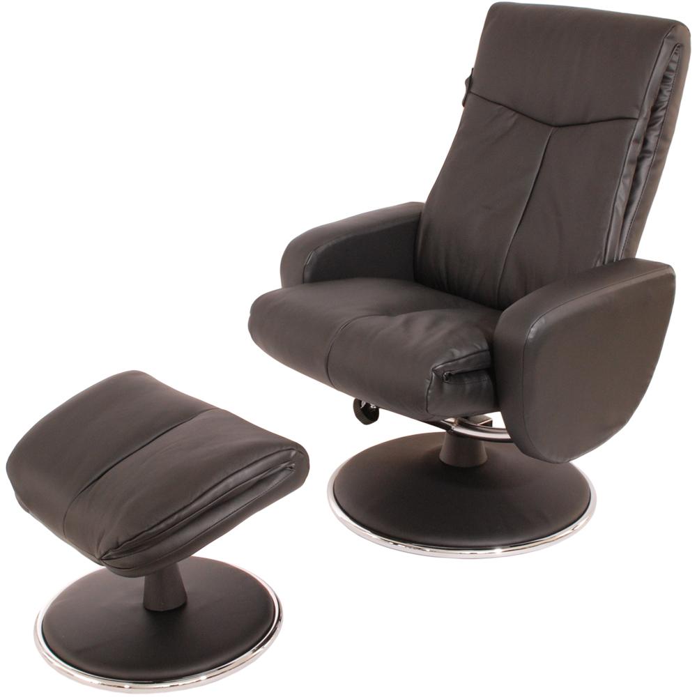 Sun Pin-蒙巴頓侯爵半牛皮躺椅+腳凳-黑色