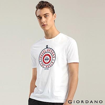 GIORDANO 男裝棉質熱愛旅行印花圓領T恤-23 標誌白