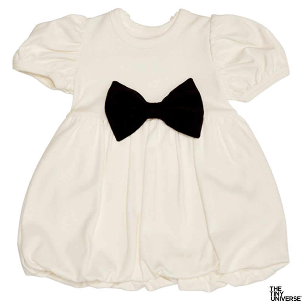 The Tiny Universe 瑞典 米白可拆式黑色蝴蝶結短袖派對洋裝
