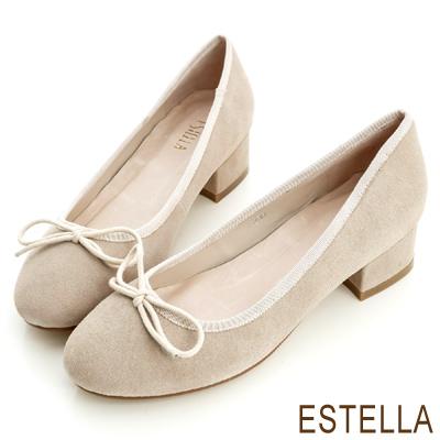 ESTELLA-完美經典-牛麂皮質感蝴蝶結低跟鞋