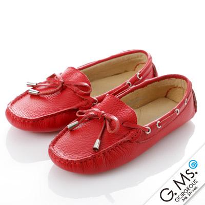 G.Ms. 童鞋-全真皮蝴蝶結休閒鞋- 可愛紅