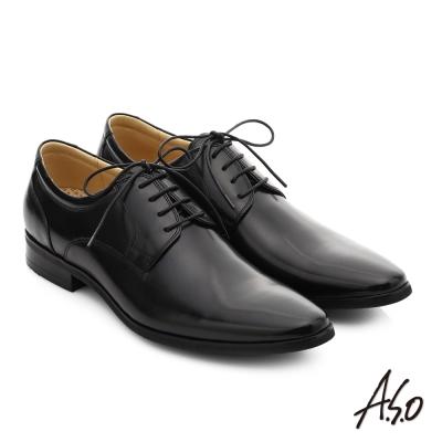 A.S.O 超輕雙核心 真皮綁帶奈米紳士鞋 黑色