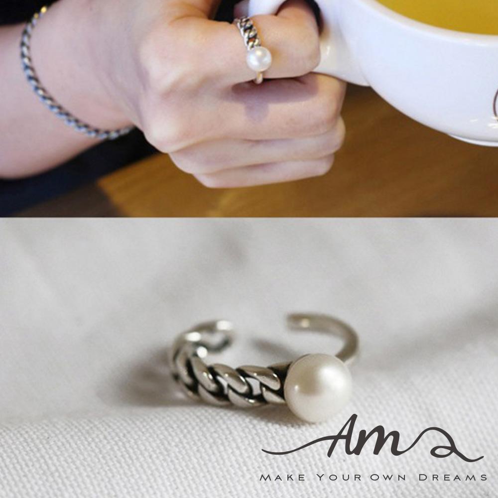 AM輕飾品珍珠半鍊條純銀戒指開口戒活圍戒
