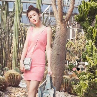 東京著衣 純色V領削肩無袖針織洋裝-S.M(共三色)